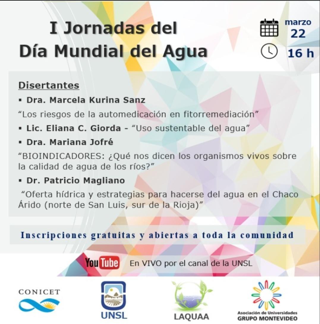 """Actividades programadas CAA-AUGM Día Mundial del Agua: """"I Jornadas del Día Mundial del Agua"""" en la UNSL"""