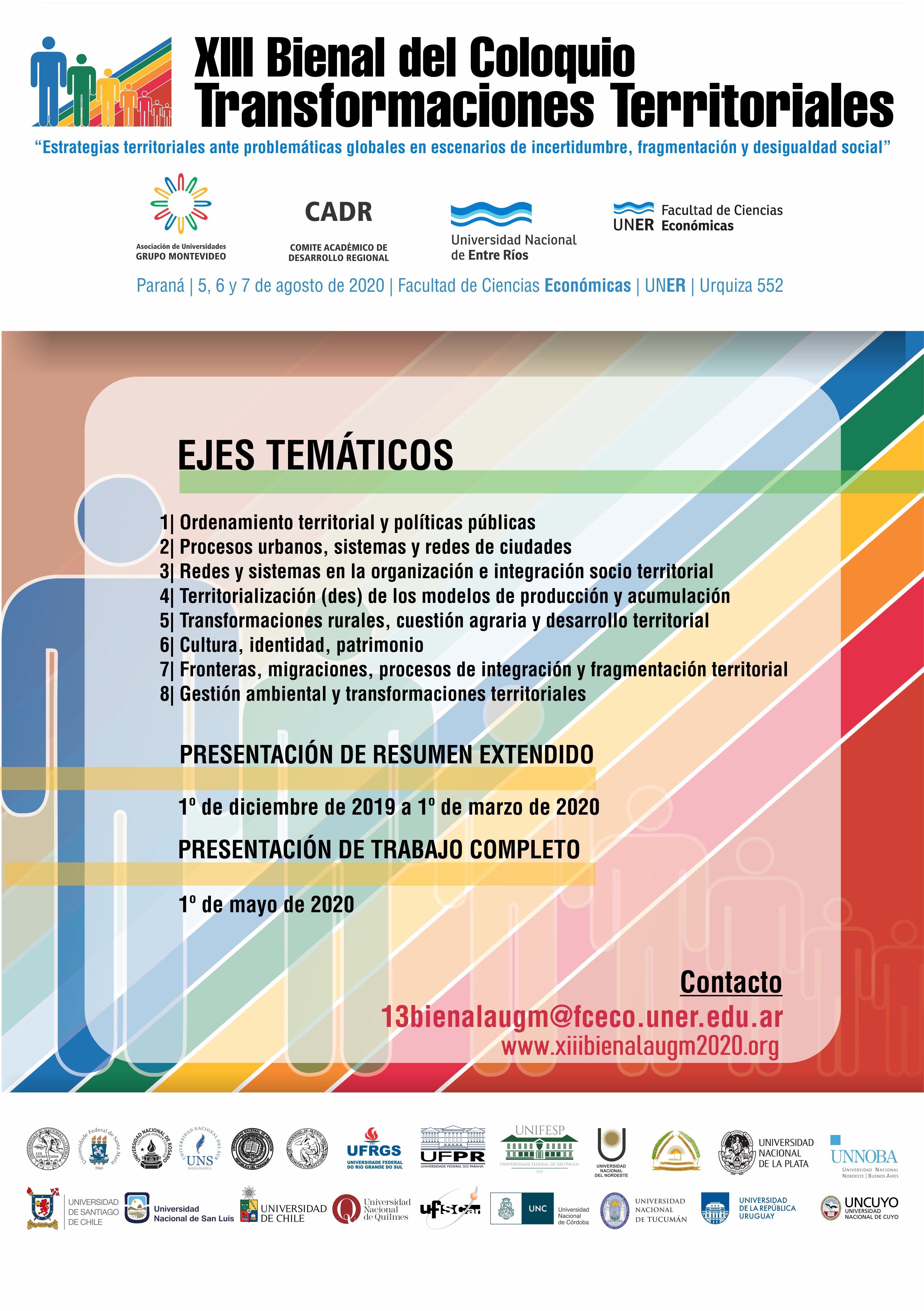 Primer Circular XIII Bienal del Coloquio de Transformaciones Territoriales 2020