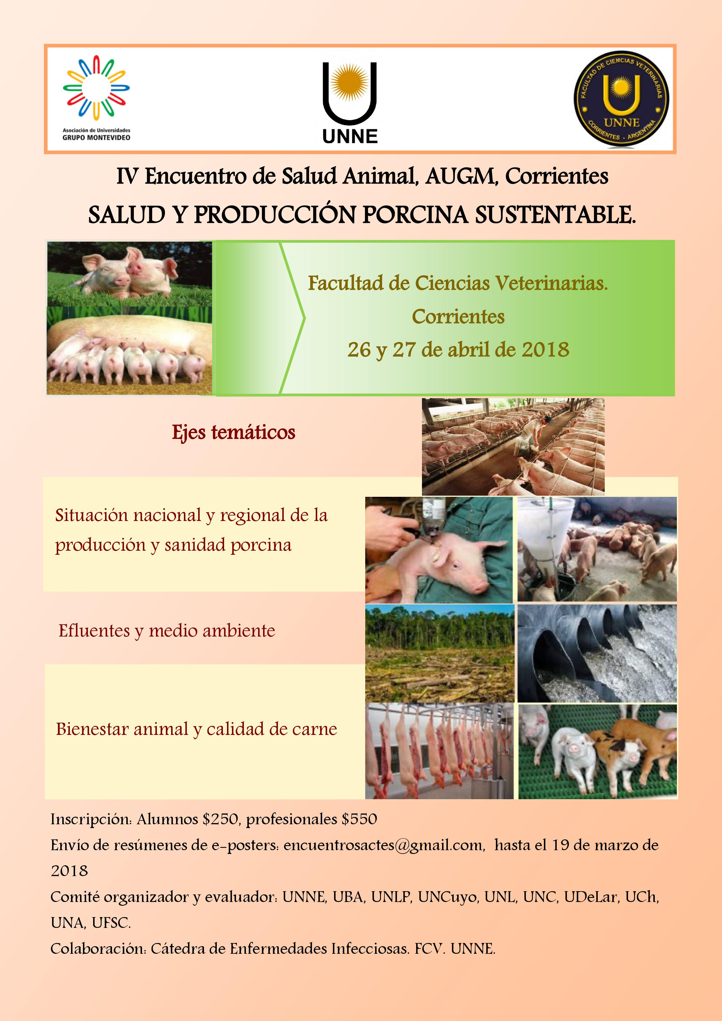 """IV Encuentro de Salud Animal """"SALUD Y PRODUCCIÓN PORCINA SUSTENTABLE"""""""
